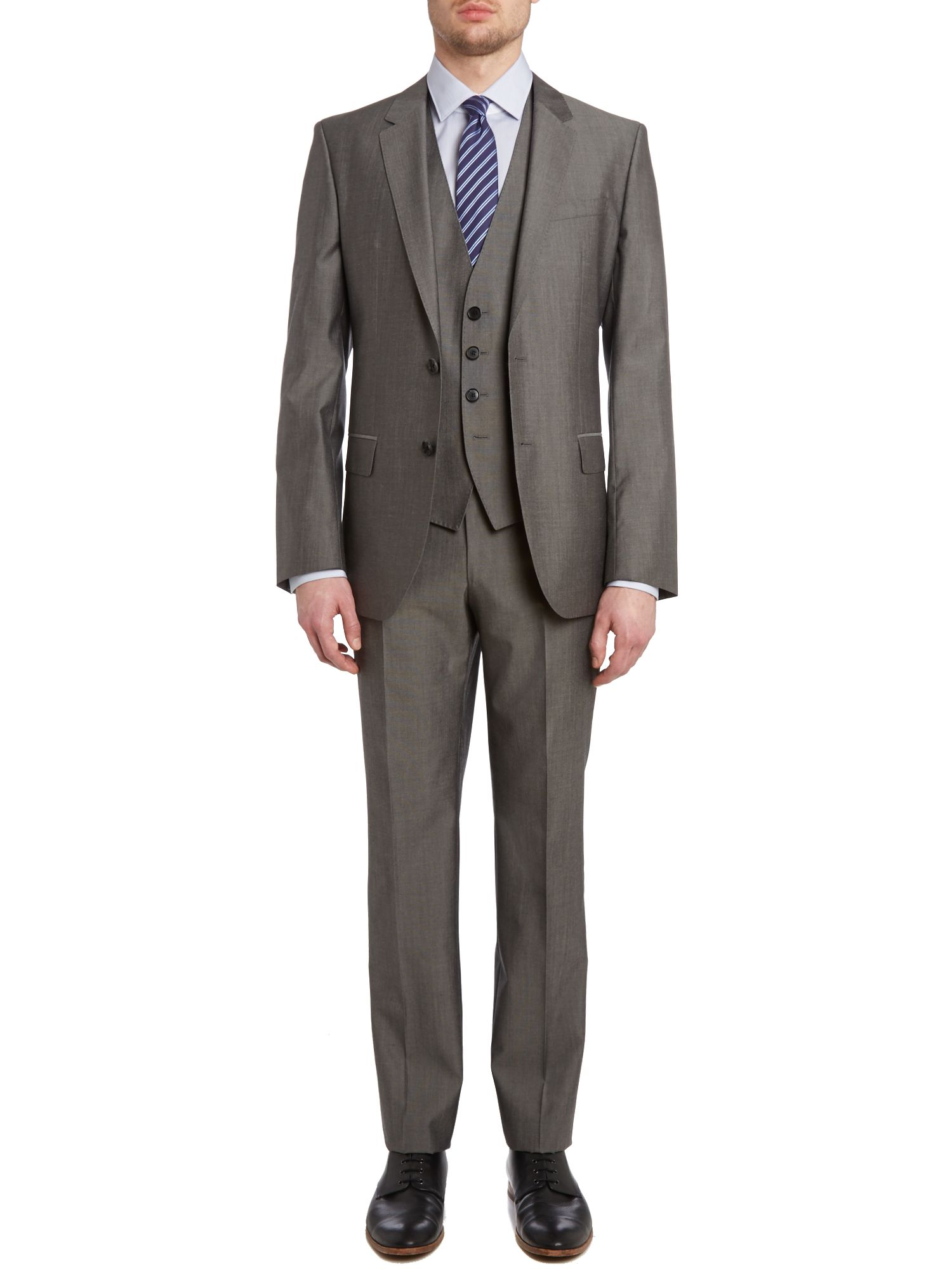 Huge Genius slim fit three piece solid suit