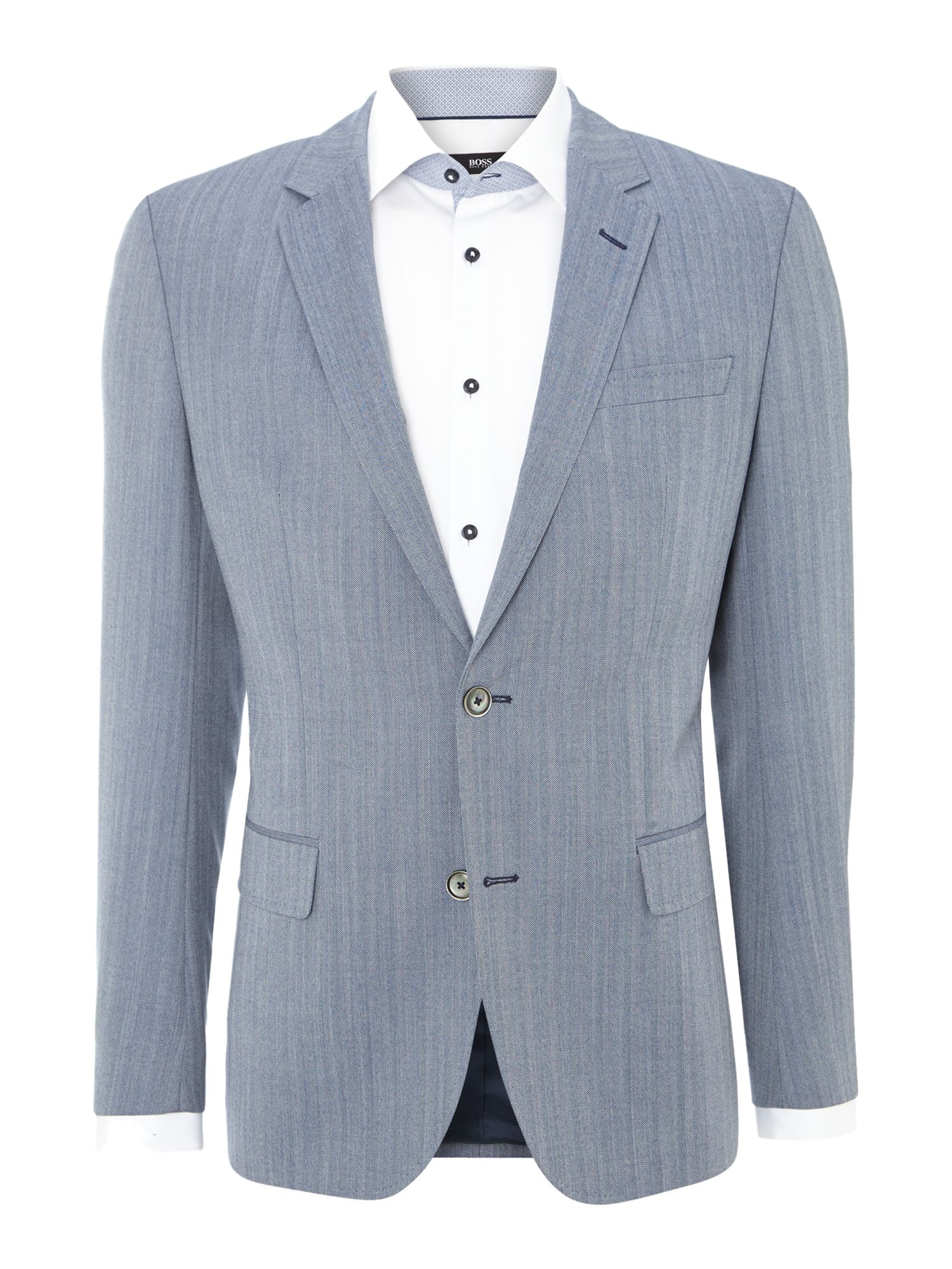 Hutsons slim fit herringbone wool jacket