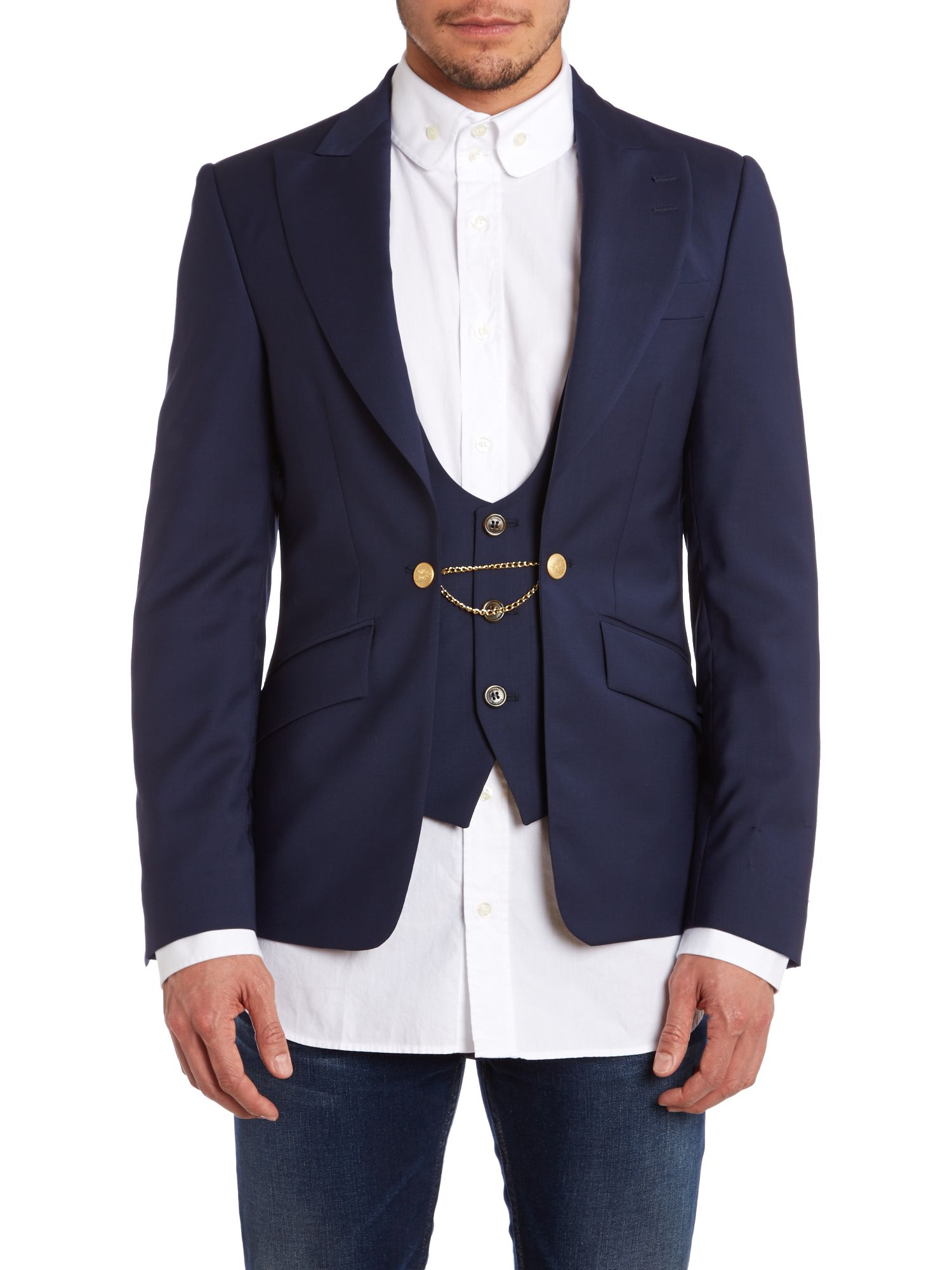 Blazer with wasitcoat and chain fastening