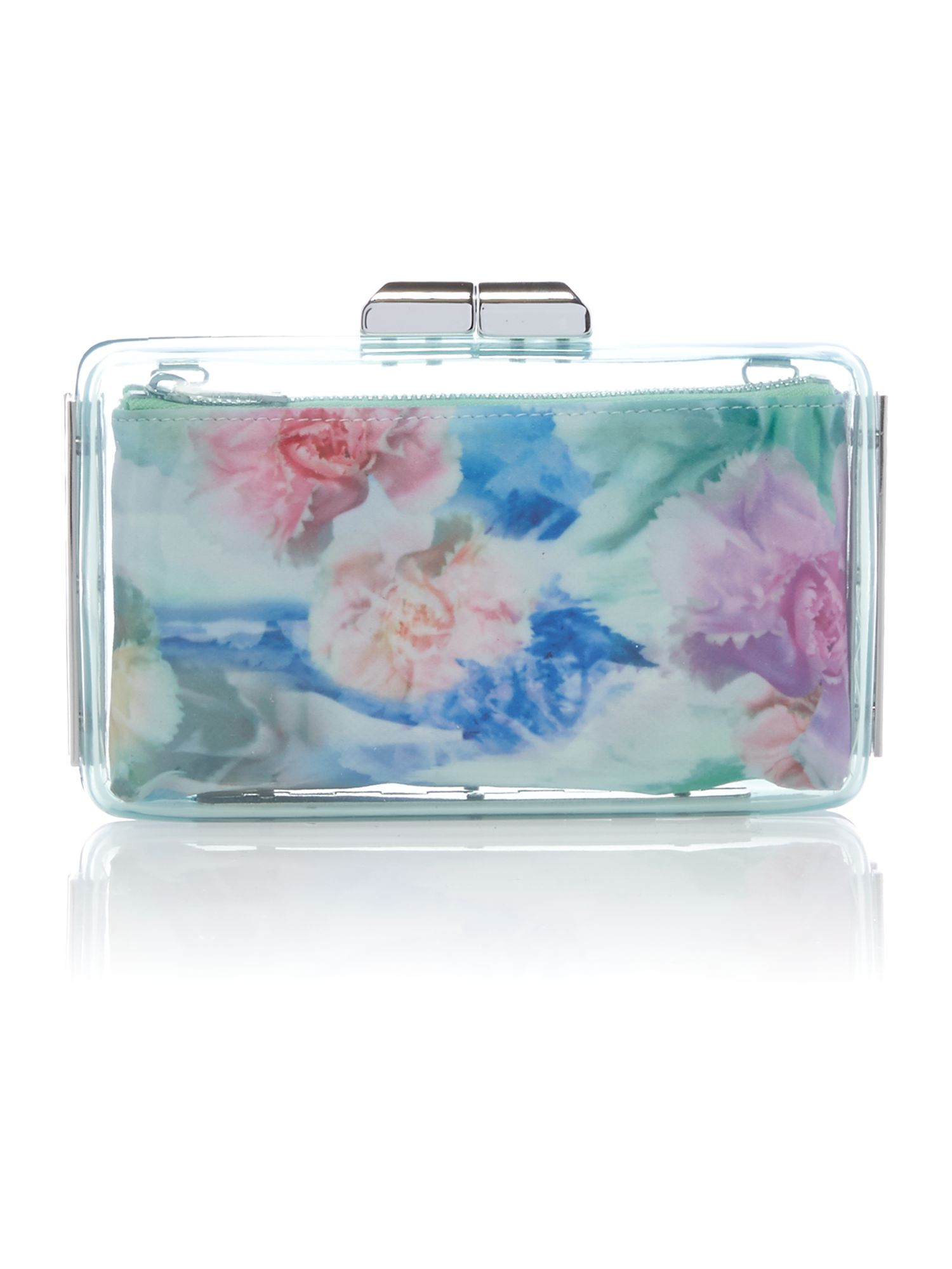Mini multi coloured clear clutch bag