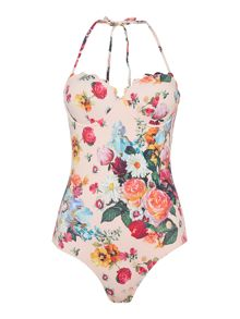 Oil painting scalloped swimsuit