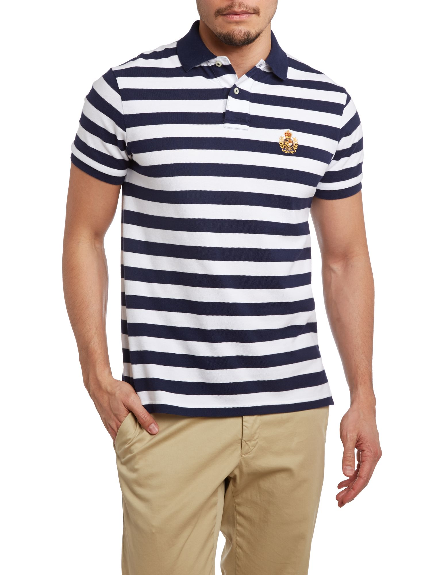 Striped custom fit crest pocket polo shirt