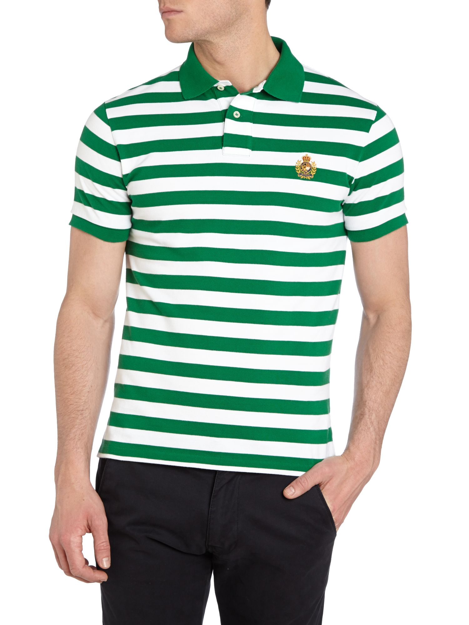 Striped regular fit crest pocket polo shirt
