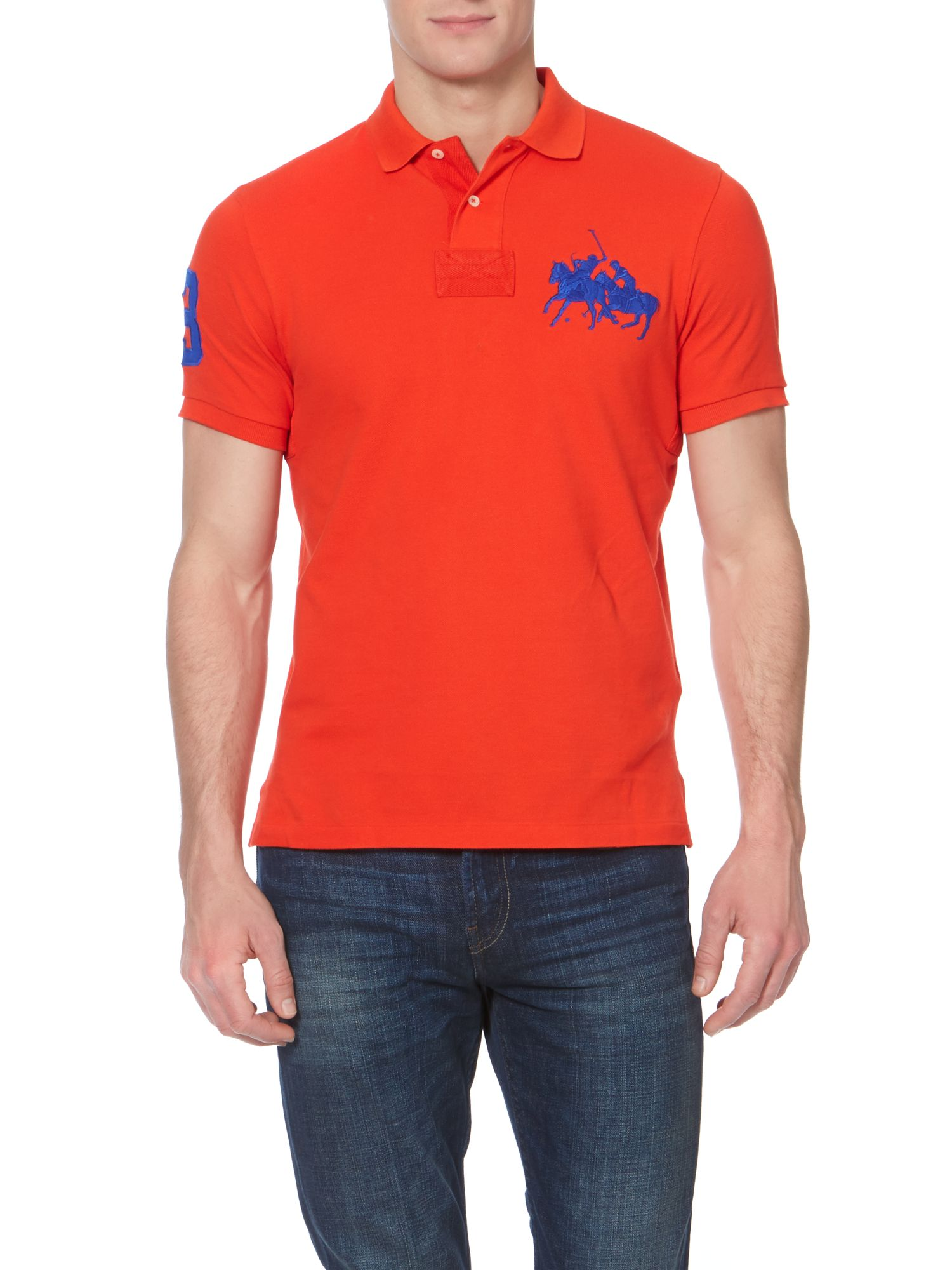 custom fit end 3 sleeve dual match polo shirt
