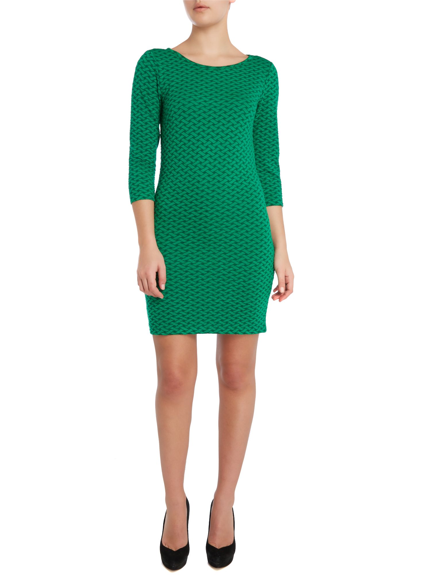 3/4 Sleeve texture bodycon dress