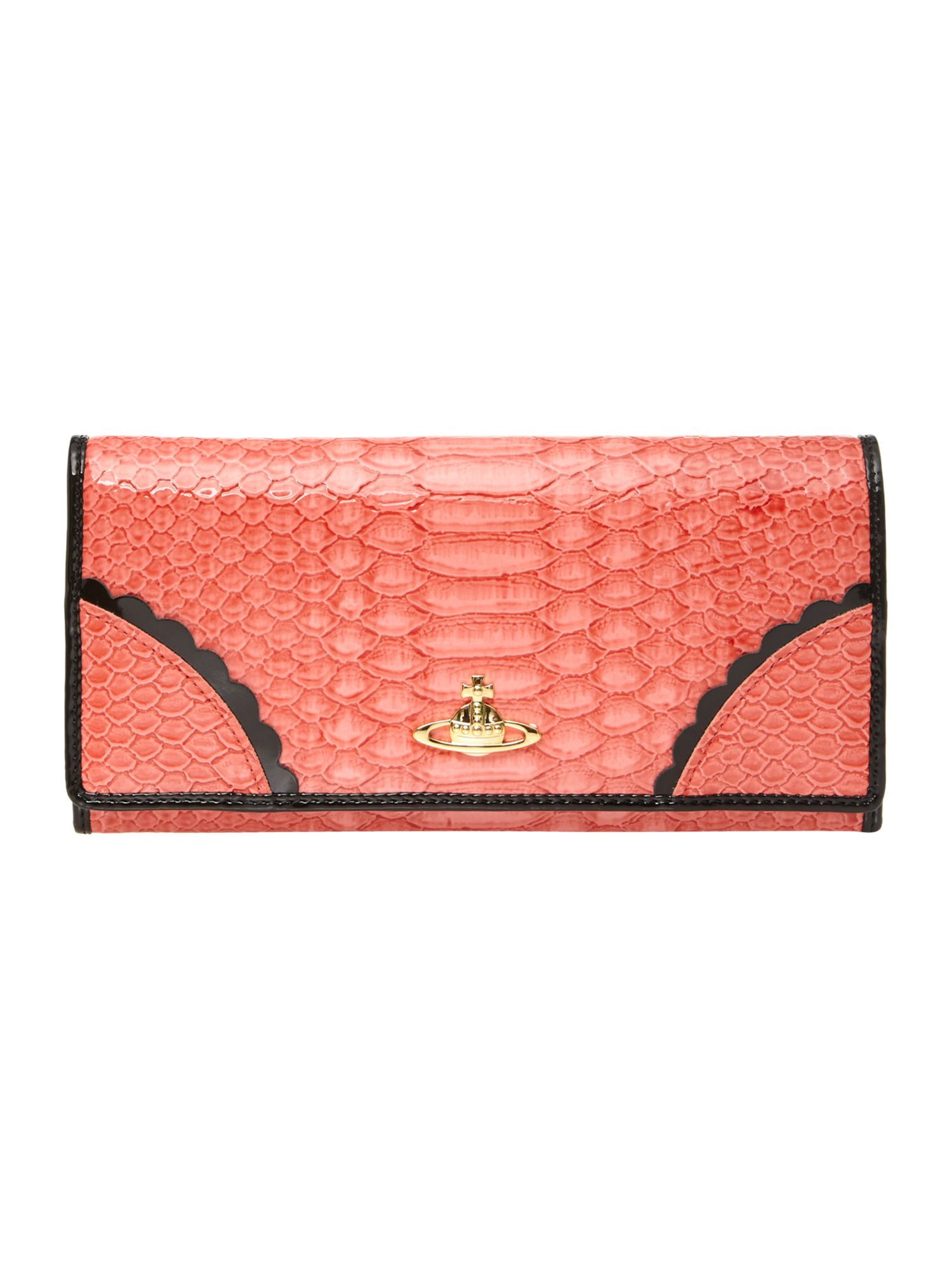 Frilly Snake large coral flap over purse