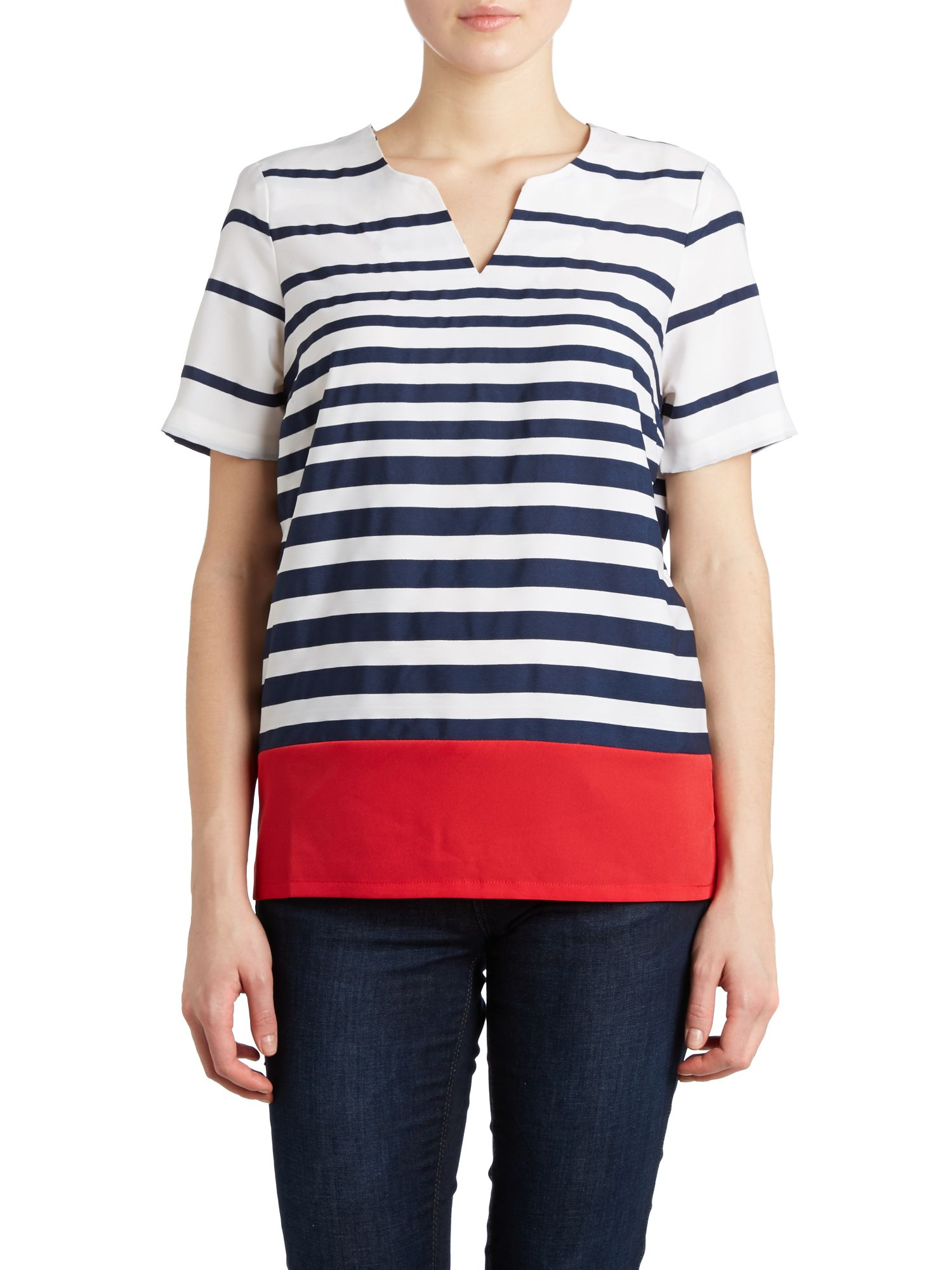 Short sleeve nautical chiffon top