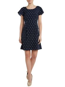 Cap sleeve anchor print dress