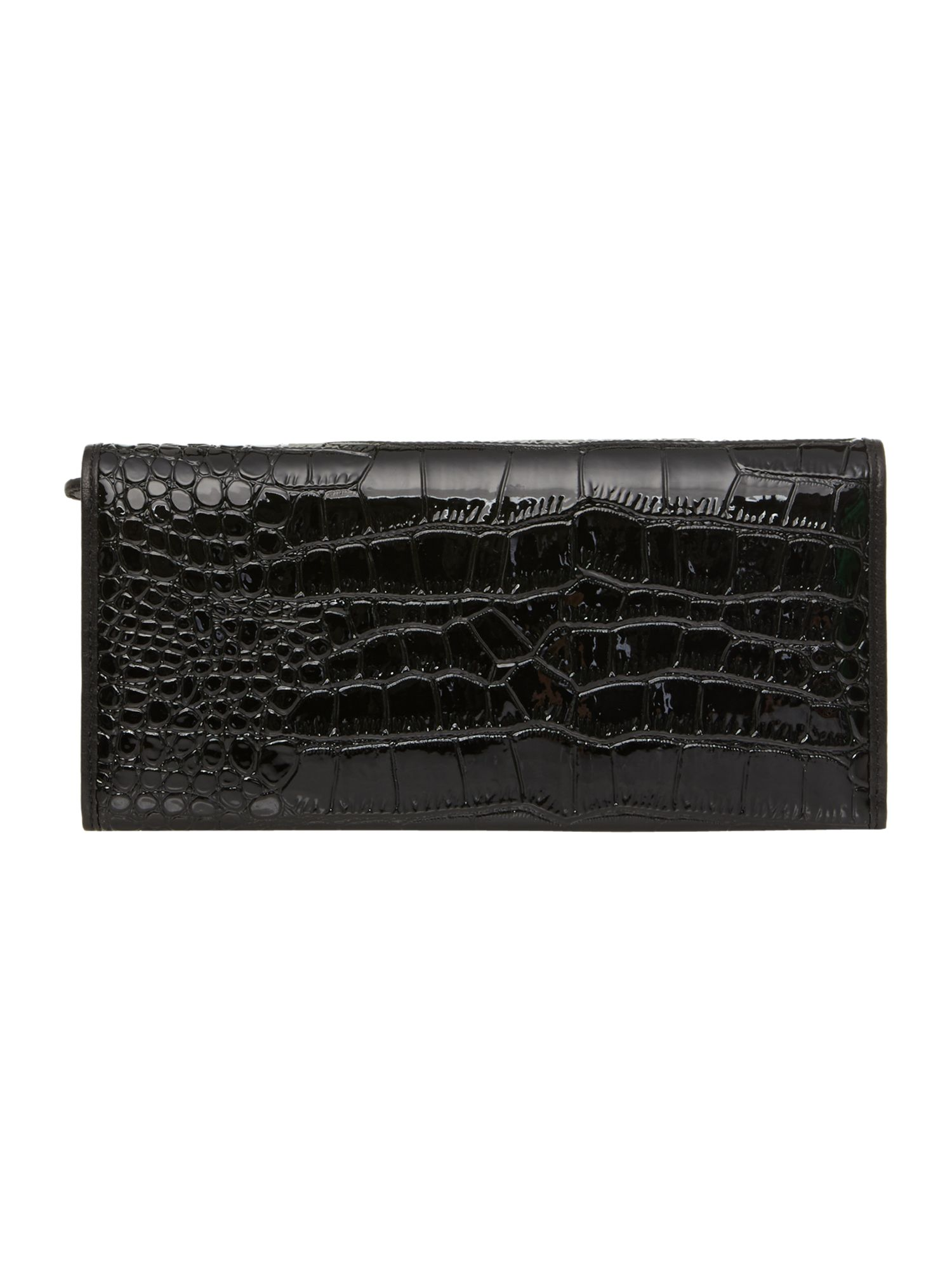 Chancery black croc flapover purse