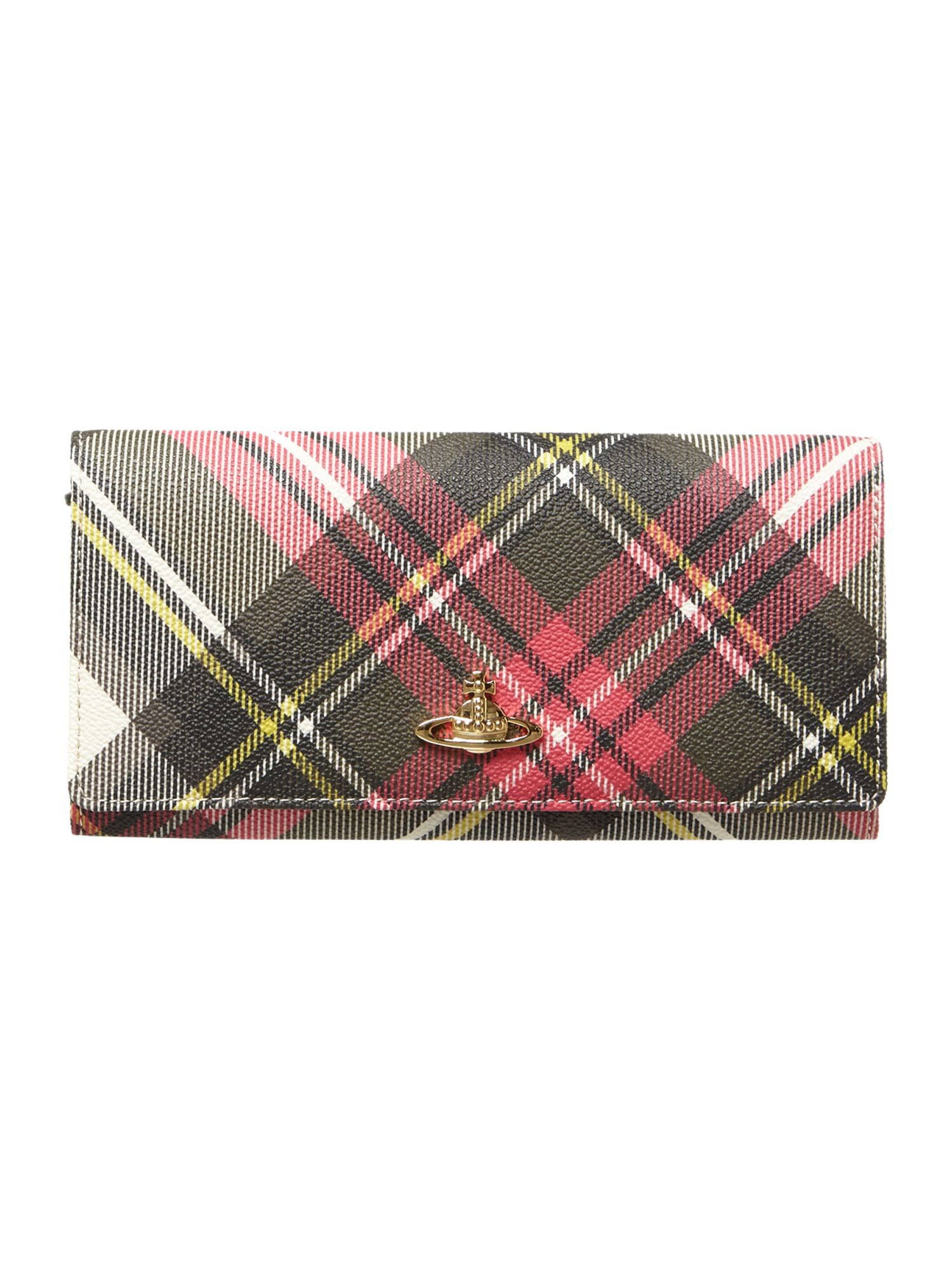 Derby multi coloured large check flap over purse