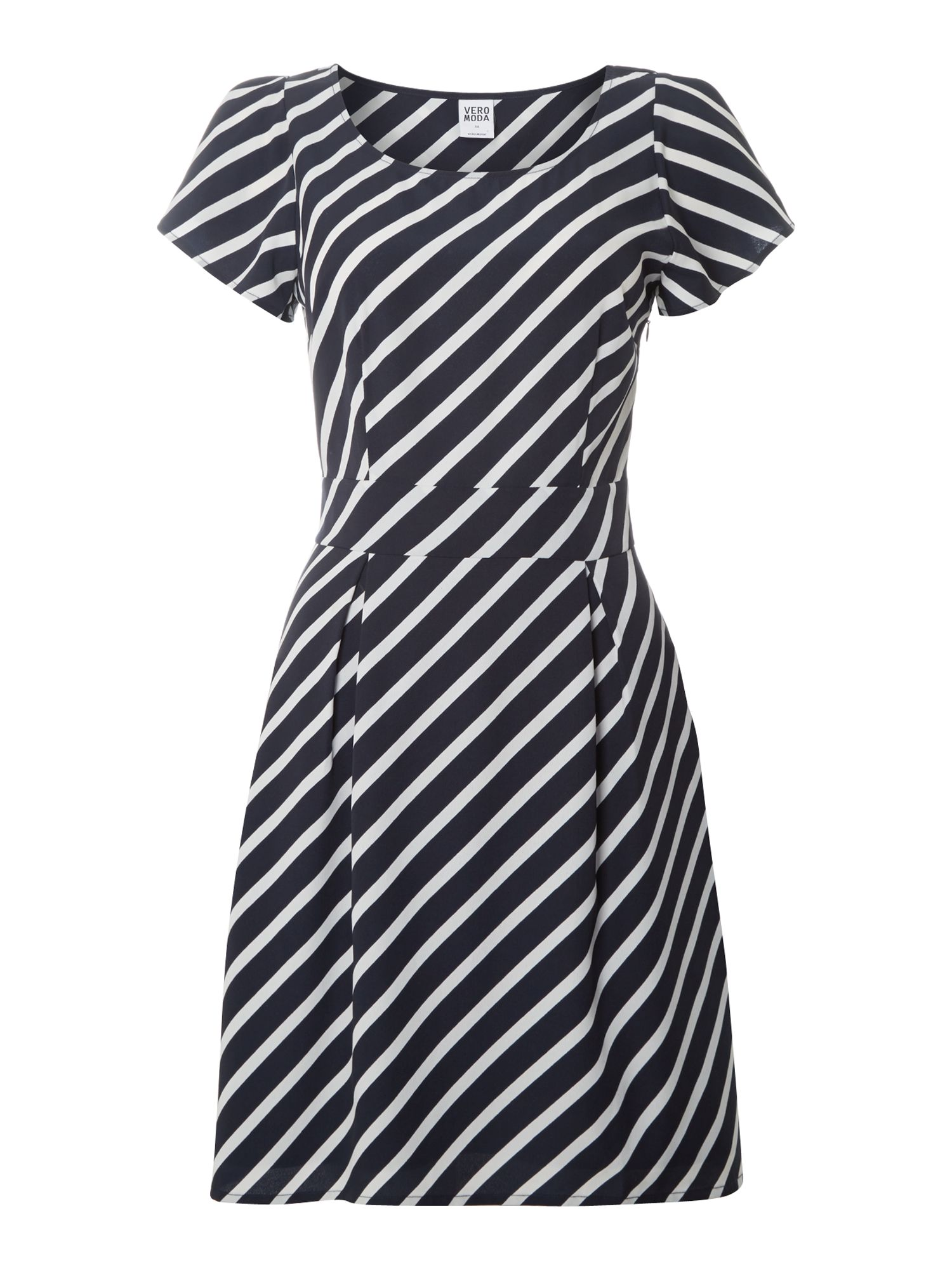 Cap sleeve striped dress