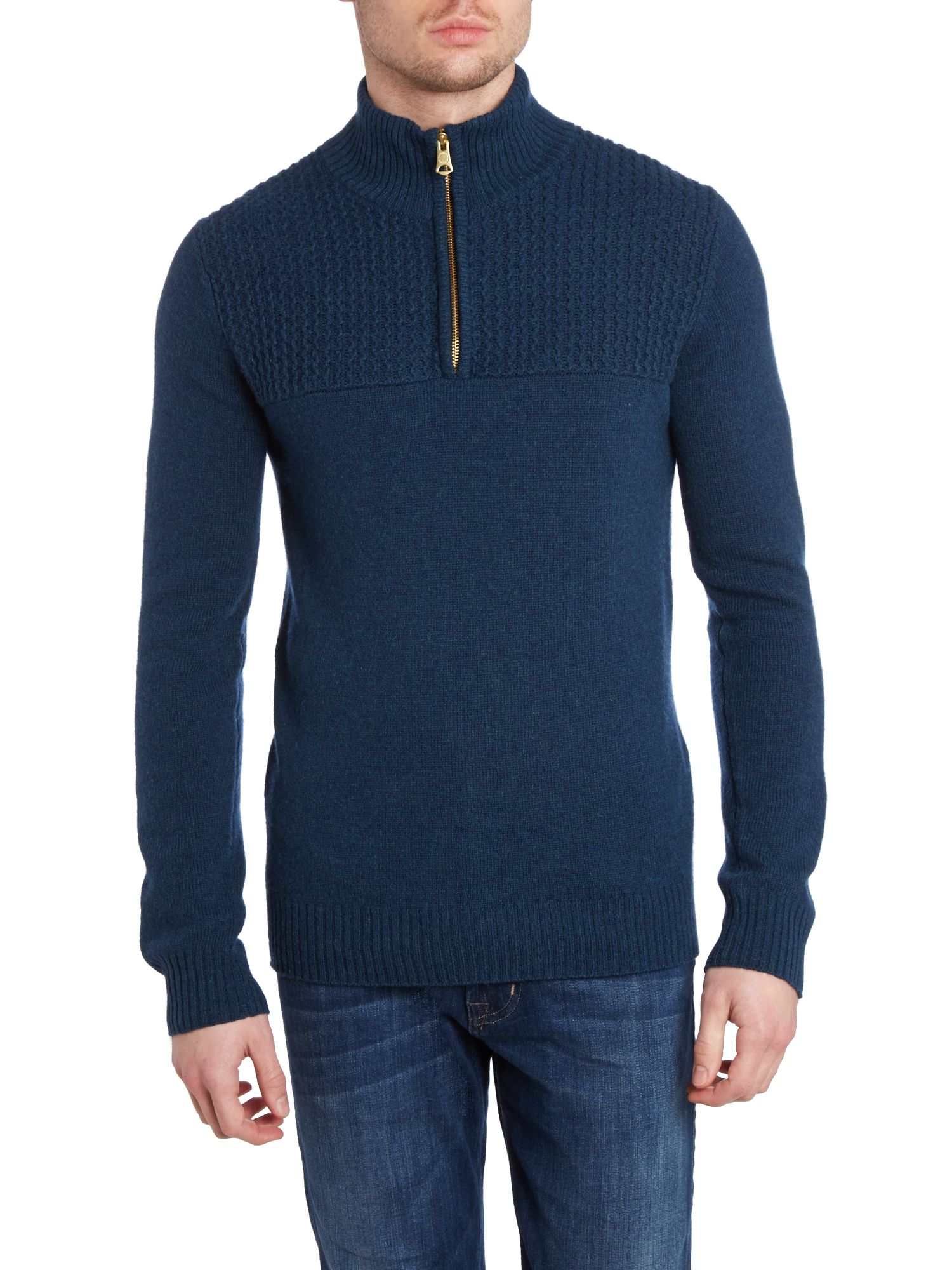 Half zip up funnel neck sweater