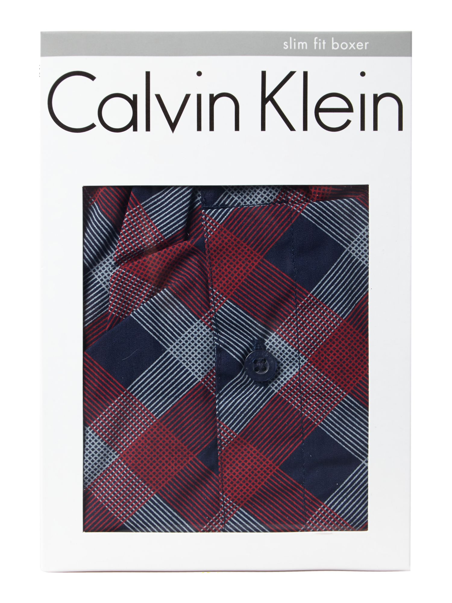 Slim fit line plaid check woven boxer
