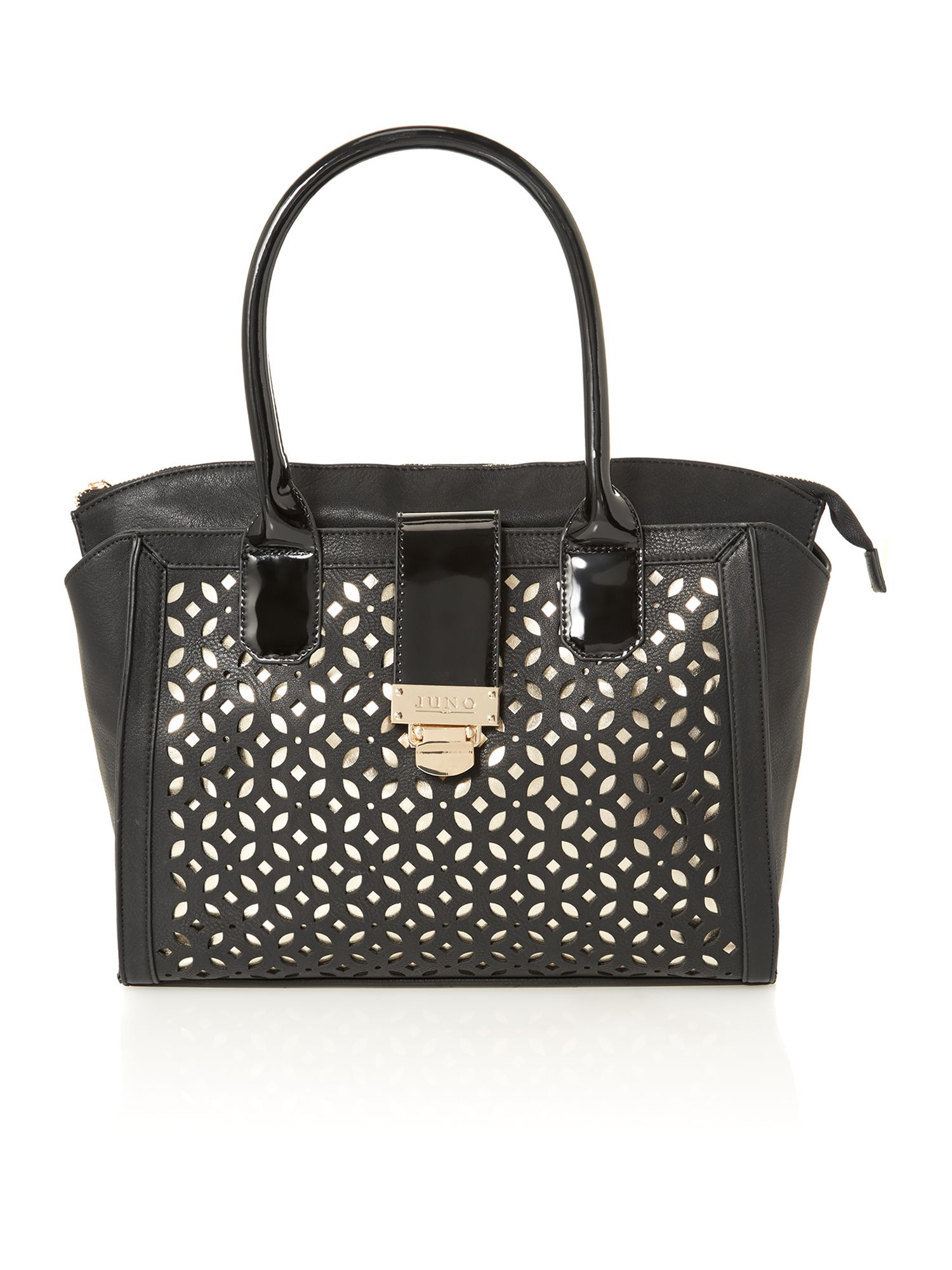 Black large cut out tote bag