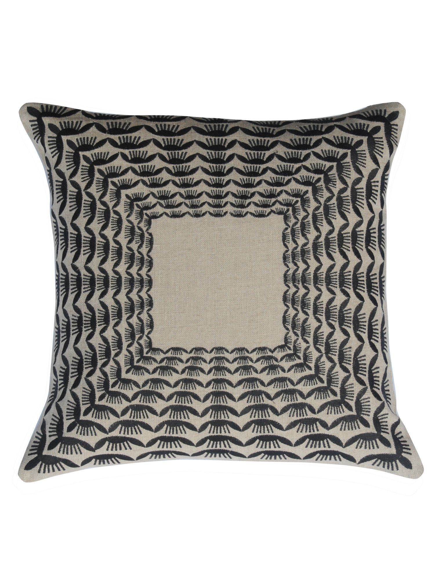 Krakow square cushion natural and black 50cm