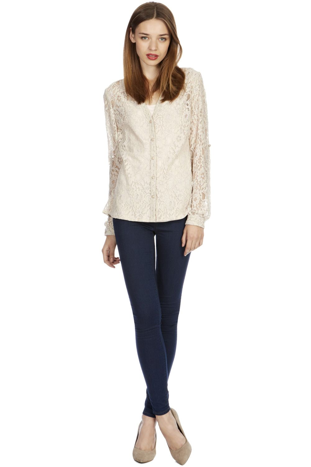Lace roll sleeve shirt