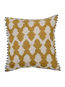 Lattice cushion in chartreuse and ecru 50x50cm