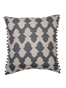 Lattice cushion in pewter and ecru 50x50cm