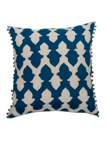 Lattice cushion in teal and ecru 50x50cm