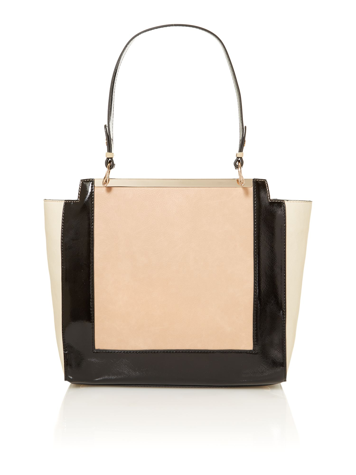 Black and nude large tote bag