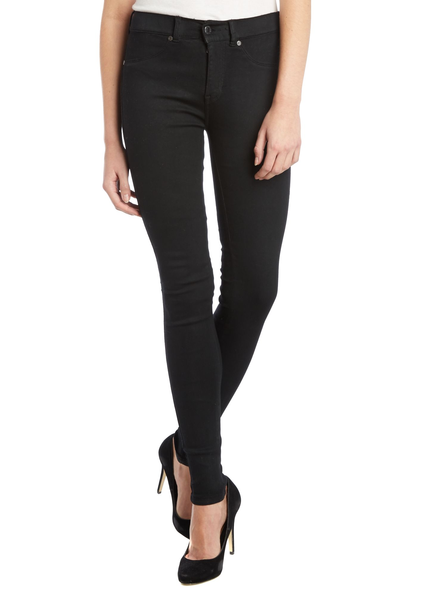 Plenty high-rise skinny jeans in Coated Black