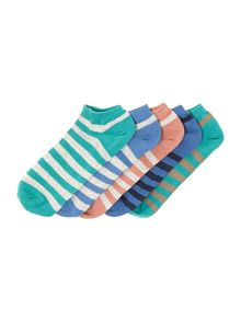 Visko 5 pack stripe trainer liner socks