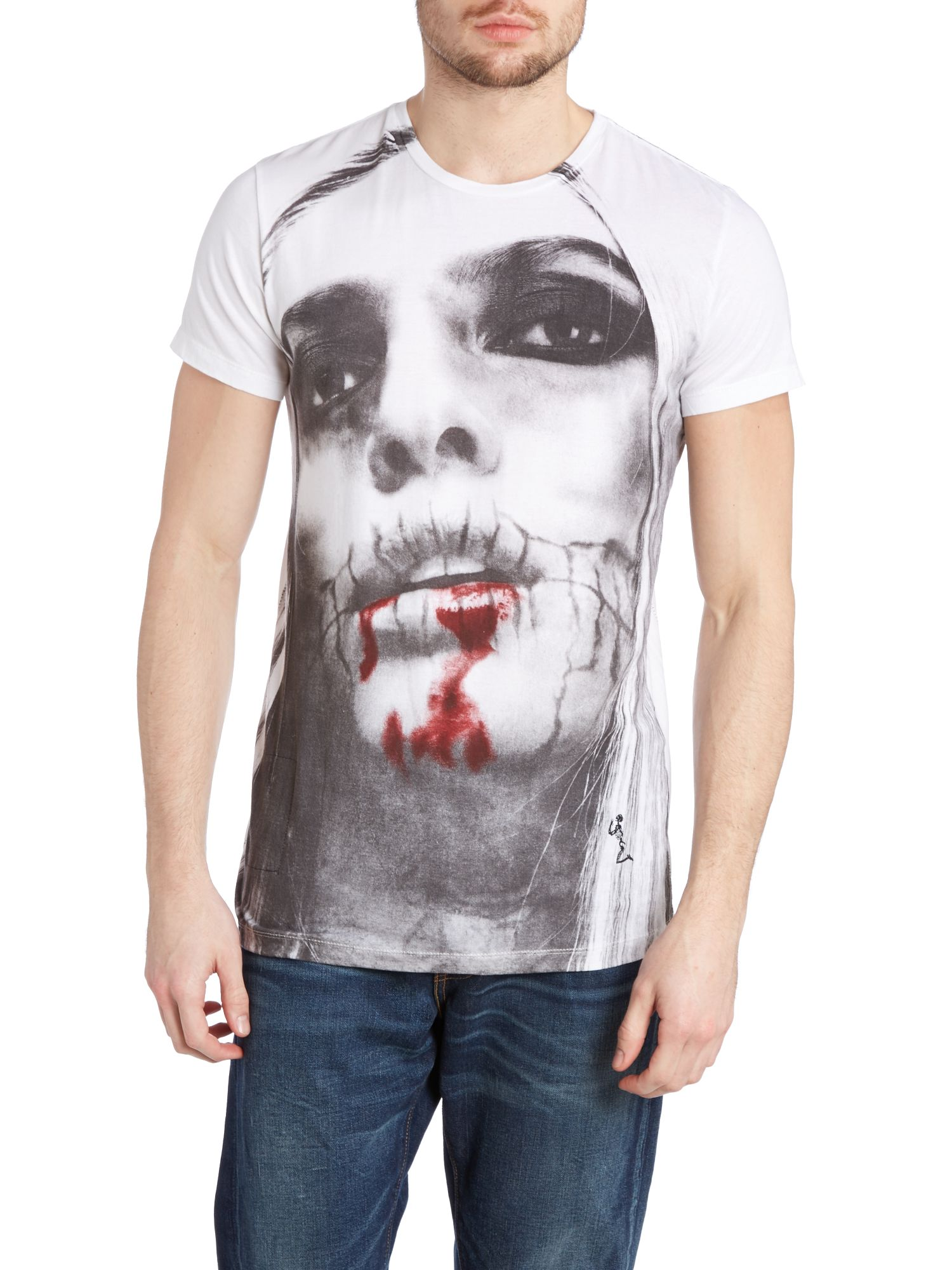 Girl with blood t shirt