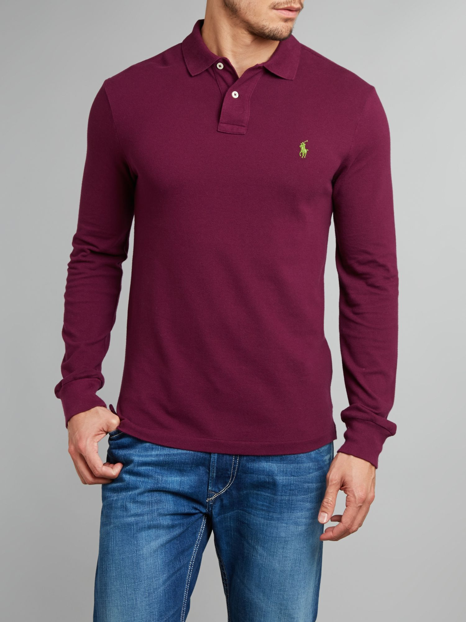 Slim fit long-sleeve mesh polo