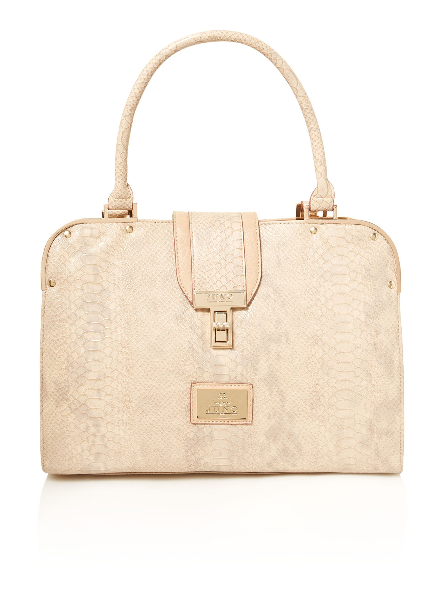 Neutral medium snake skin tote bag