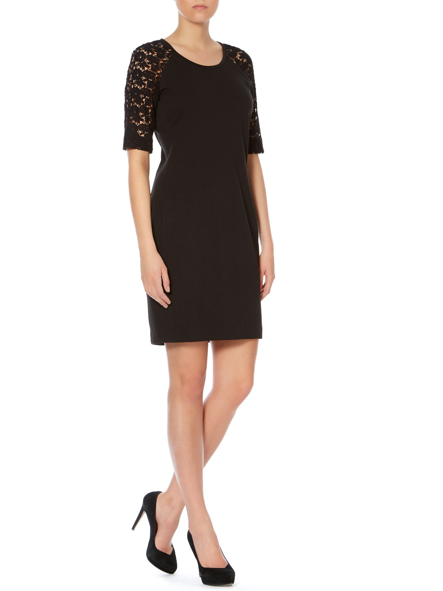 Lace sleeve black shift dress