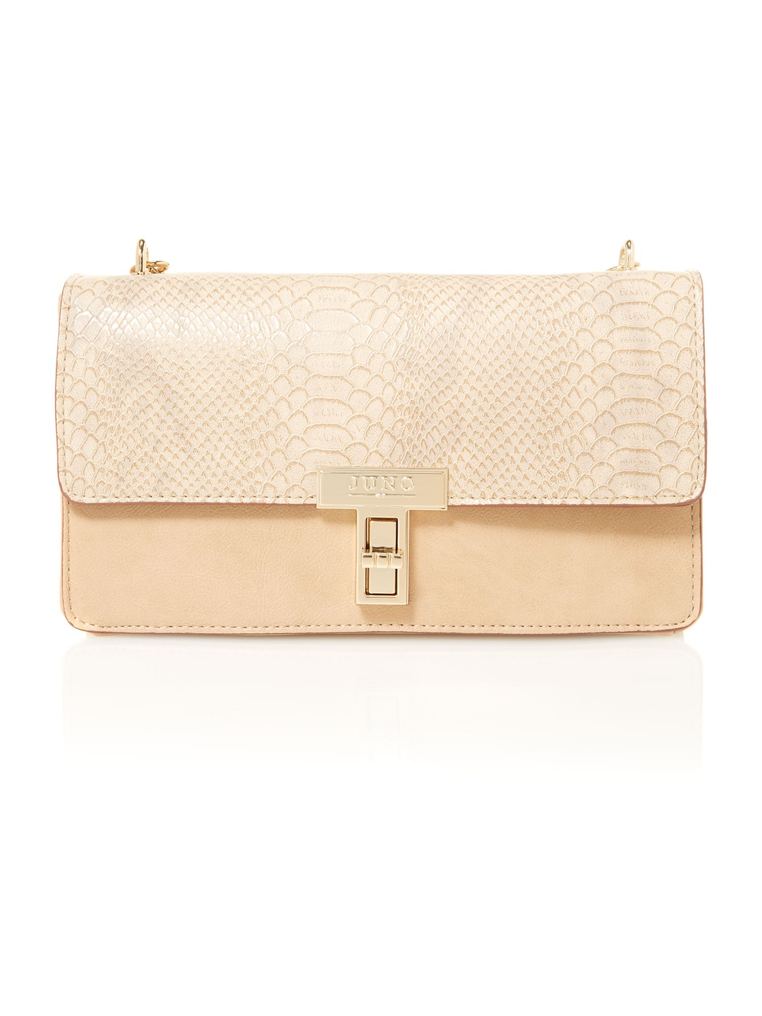 Neutral medium snake skin shoulder bag