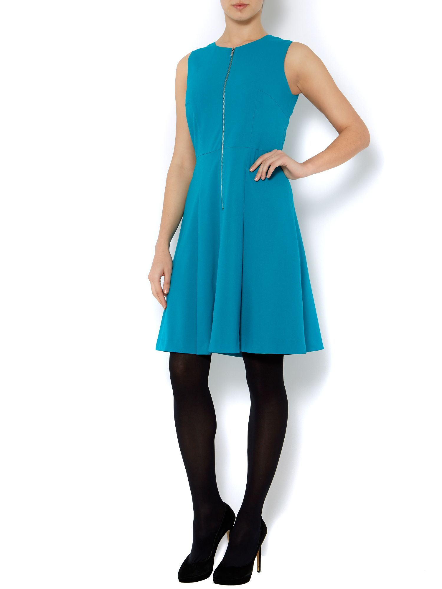 Fit and flare dress with zip front