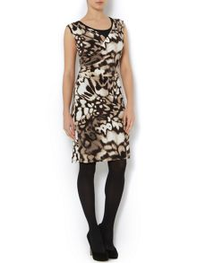 Animal print ruched jersey dress