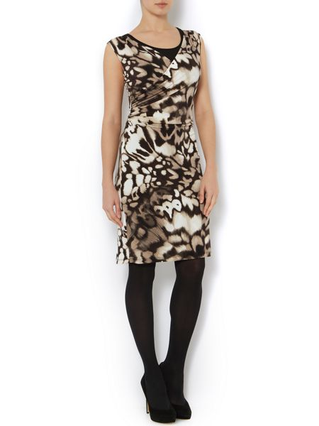 Episode Animal print ruched jersey dress