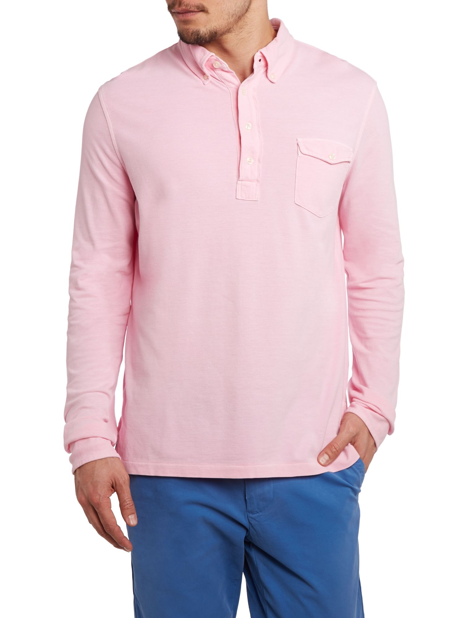 Custom fit pocket long sleeve polo shirt