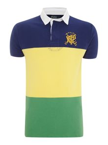 Custom fit block stripe polo shirt