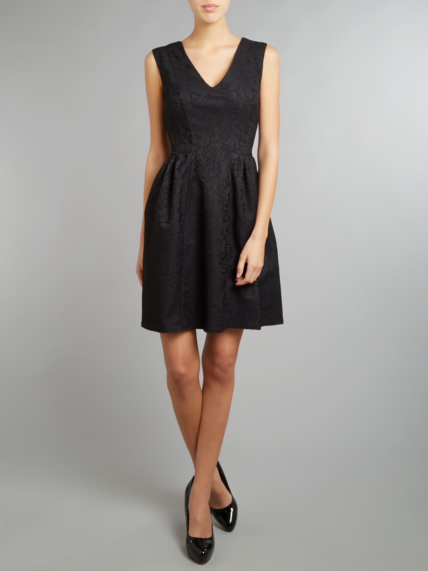 Lace v neck gathered dress