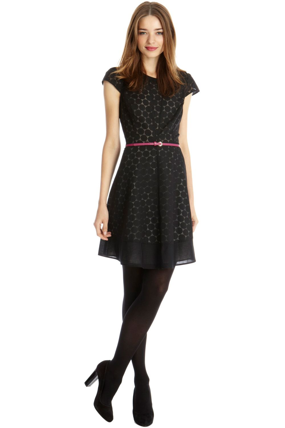 Amy sleeved spot burnout dress