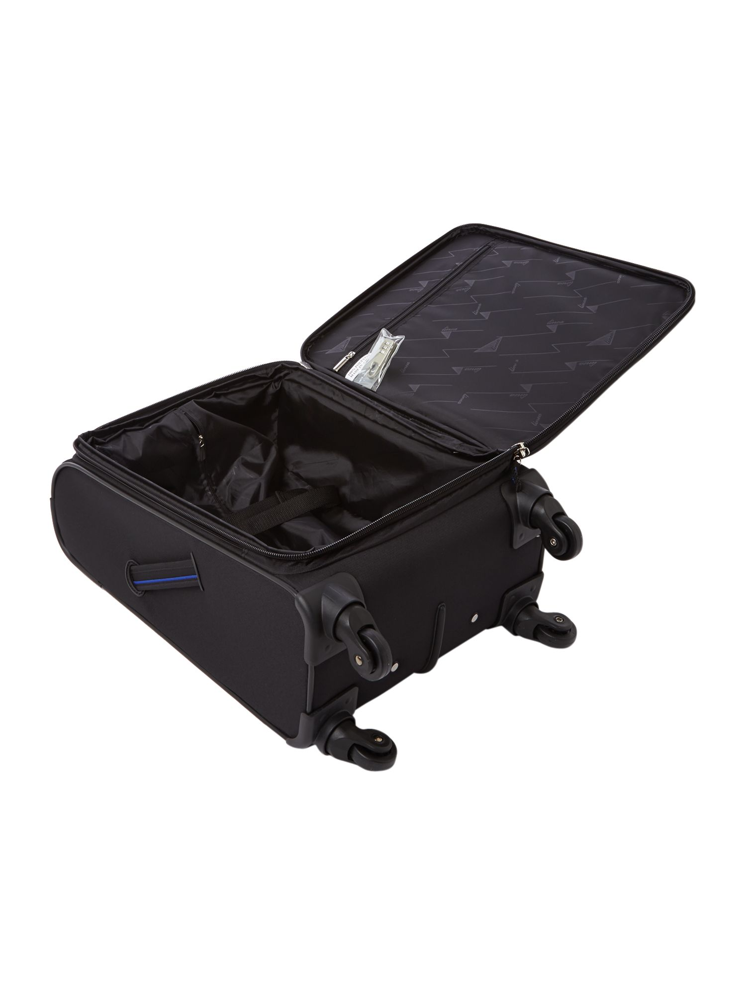 Hyperlite black 4 wheel soft cabin suitcase