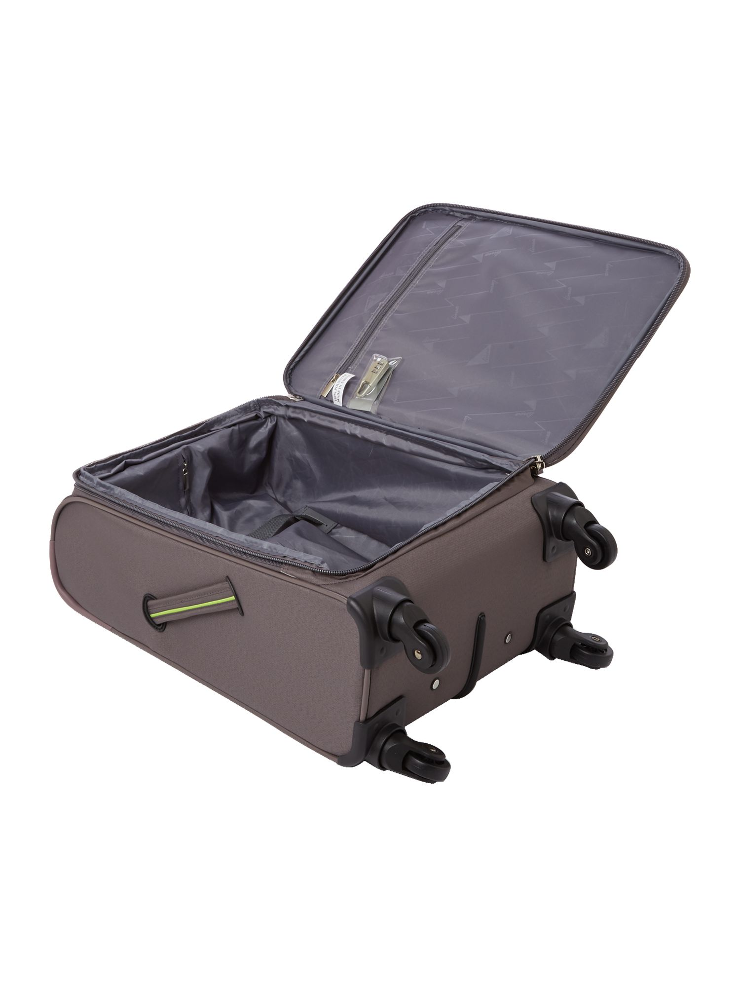 Hyperlite charcoal 4 wheel soft cabin suitcase