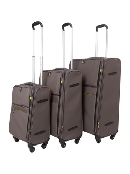 Linea Hyperlite charcoal 4 wheel soft cabin suitcase