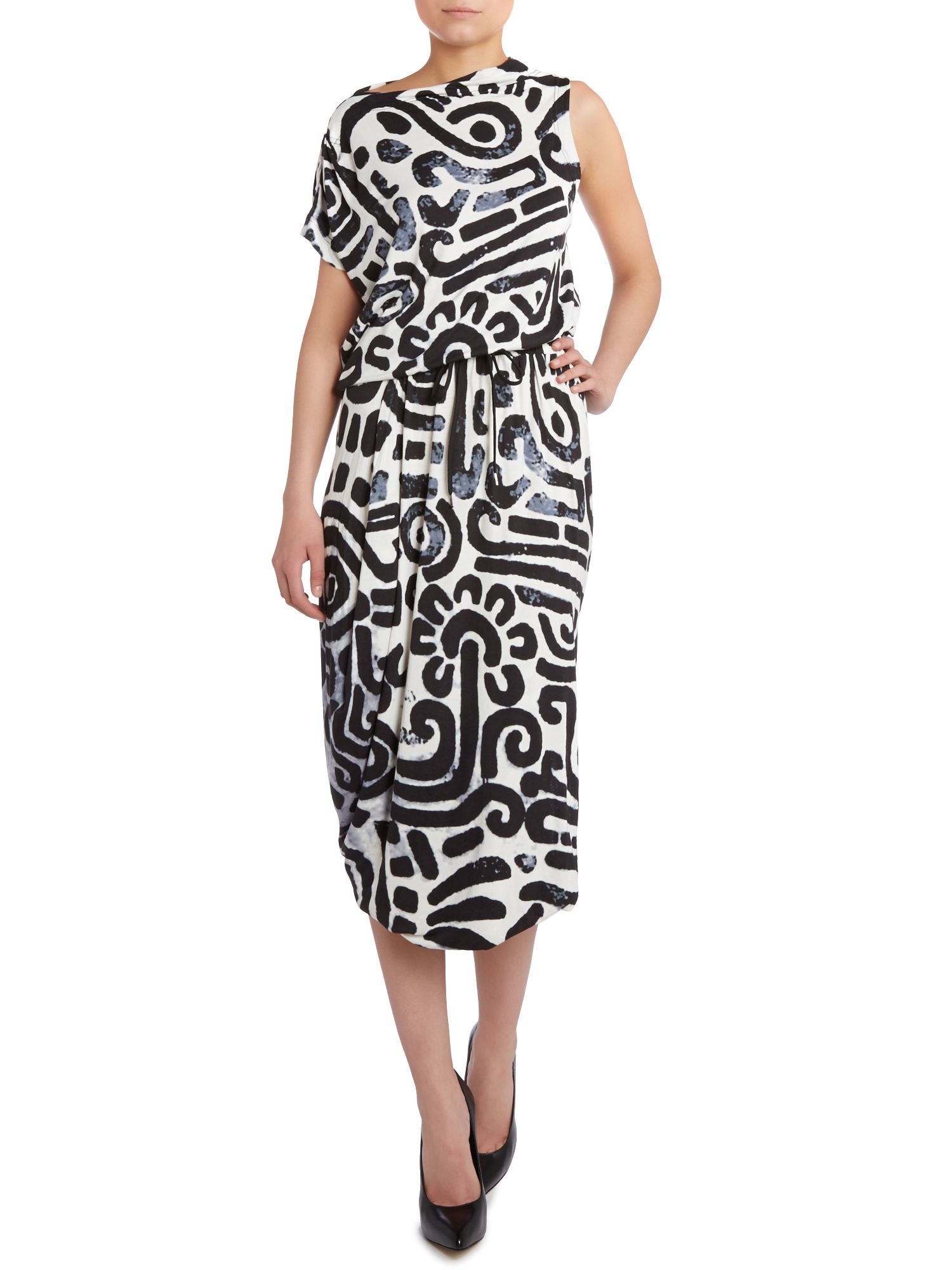 Quest drape print dress