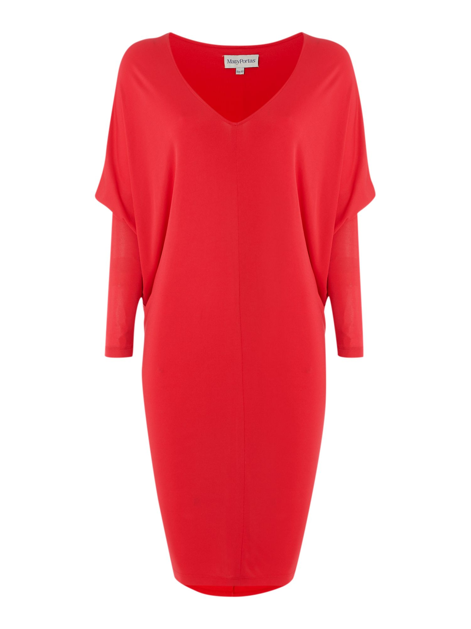 Kite crepe dress w/mesh sleeves