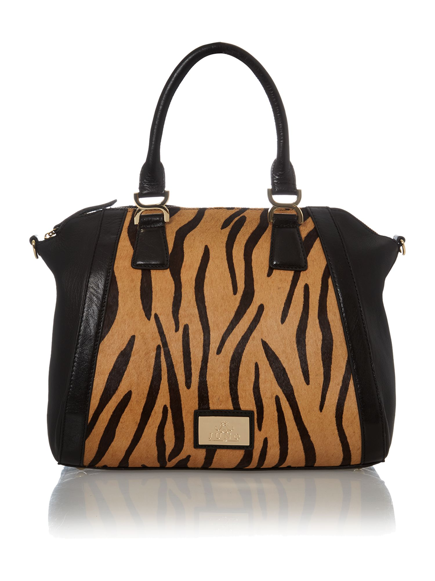 Black and tiger print large leather tote bag