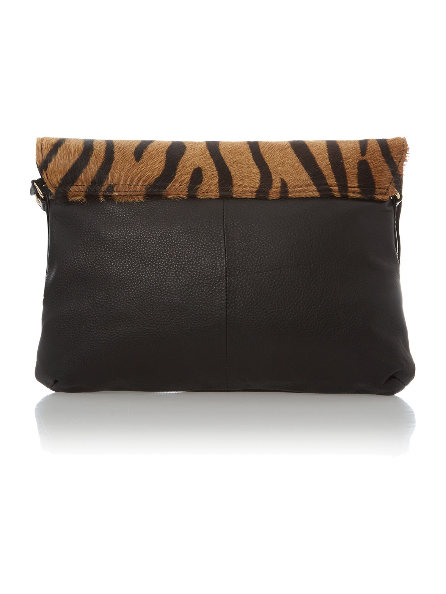 Black and tiger print leather clutch bag