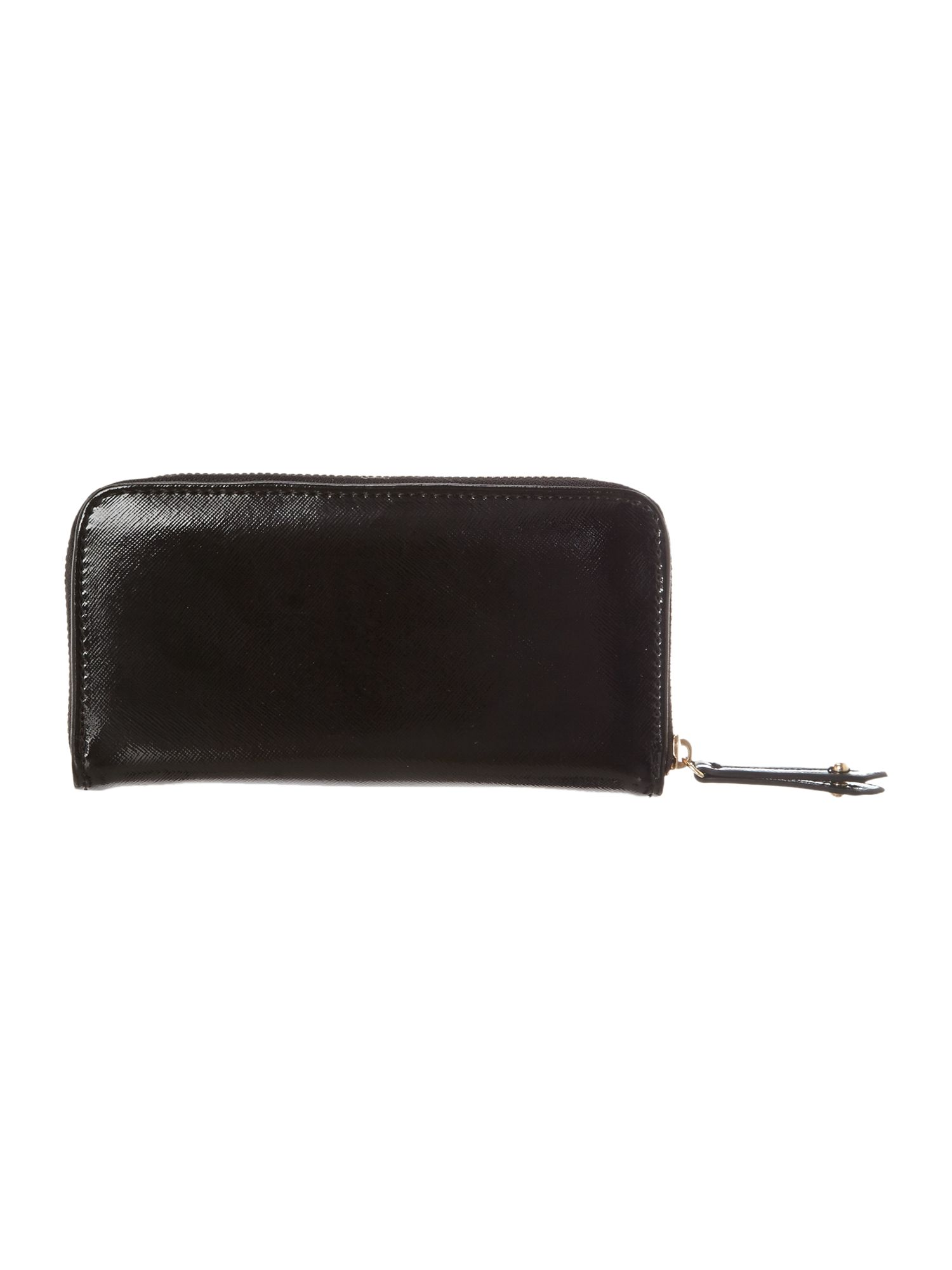 Black saffiano zip around purse