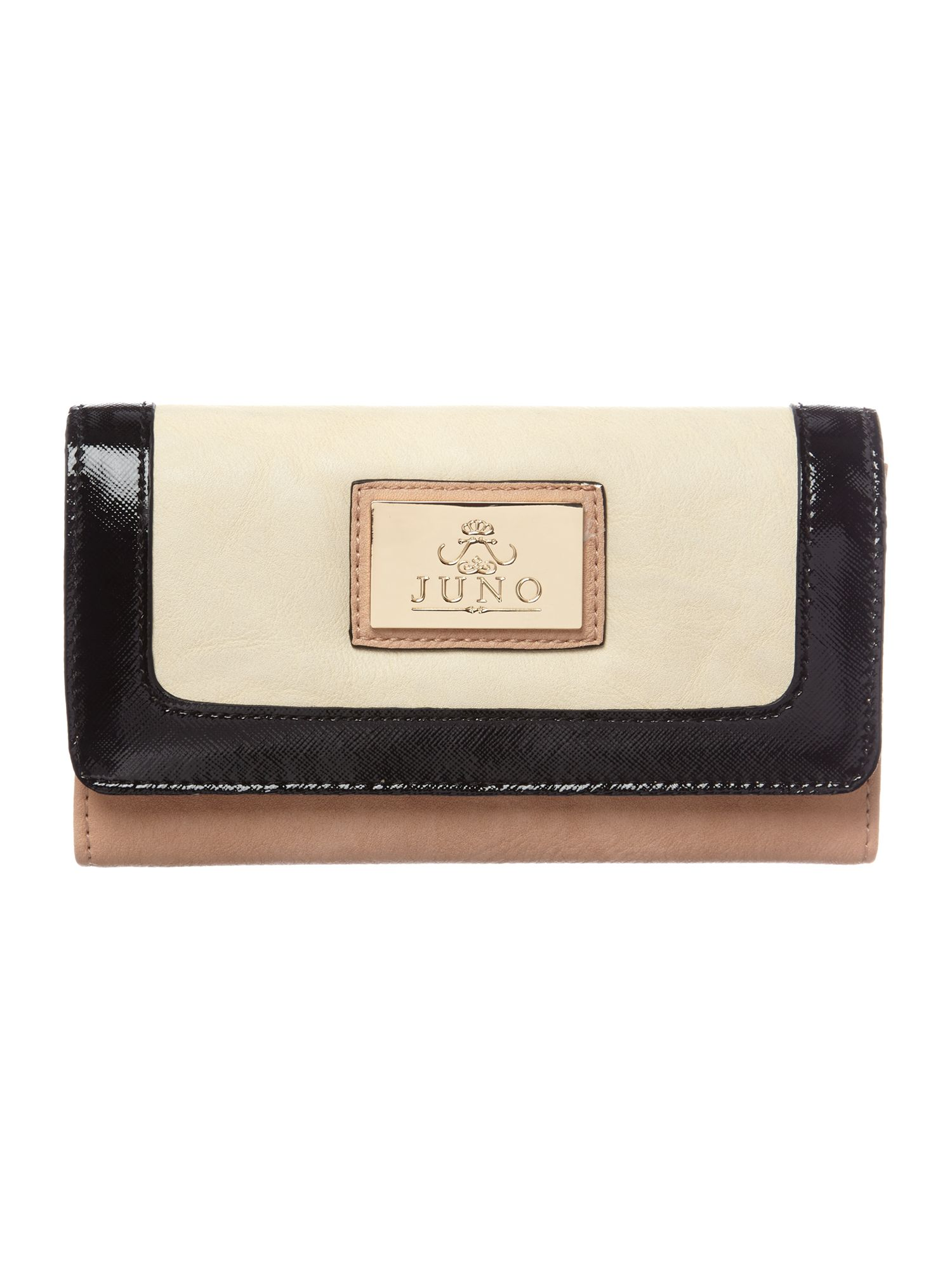 Black and nude flapover purse