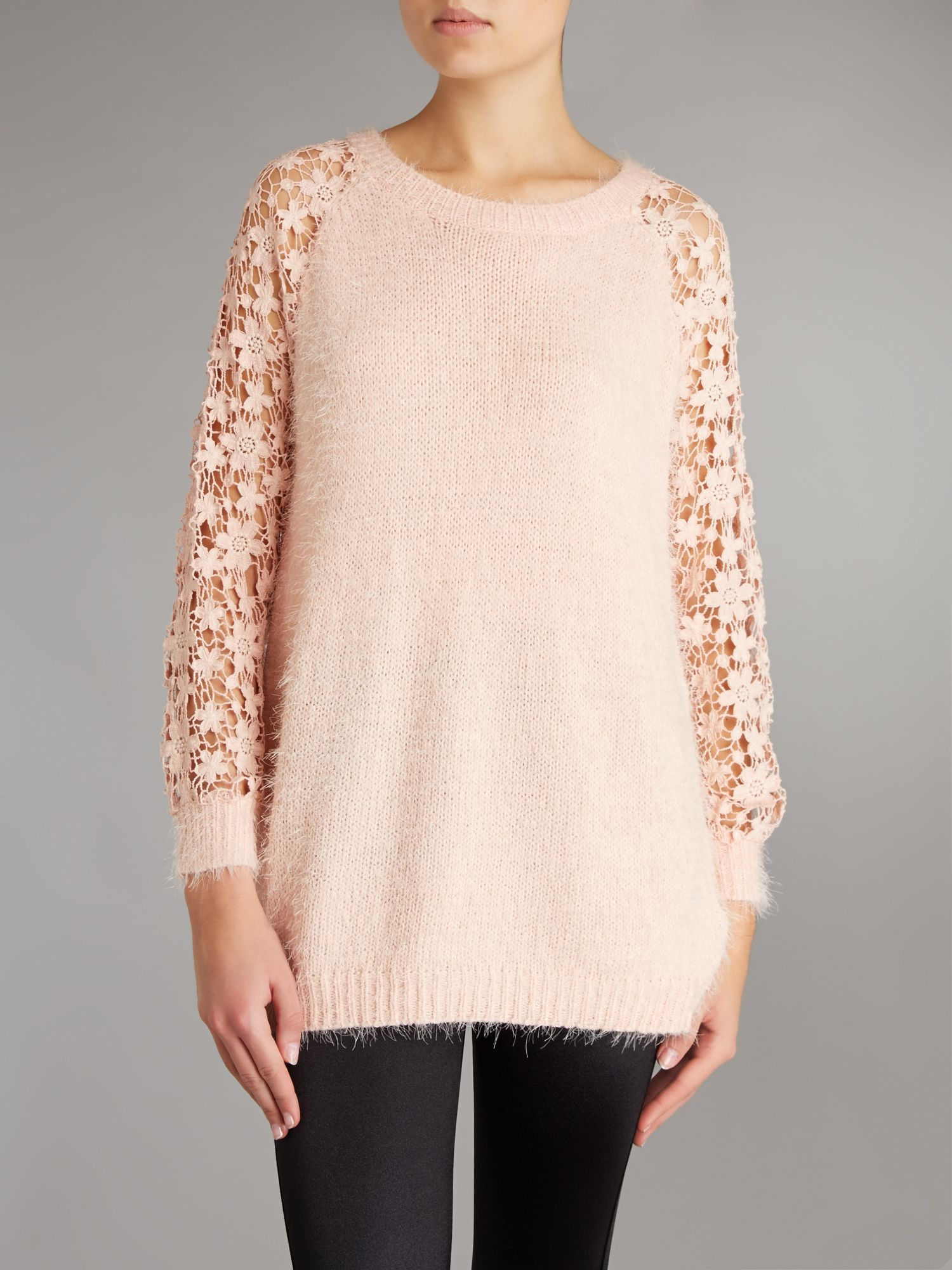 Crochet sleeve soft knit jumper