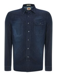 Union long sleeve herringbone denim shirt