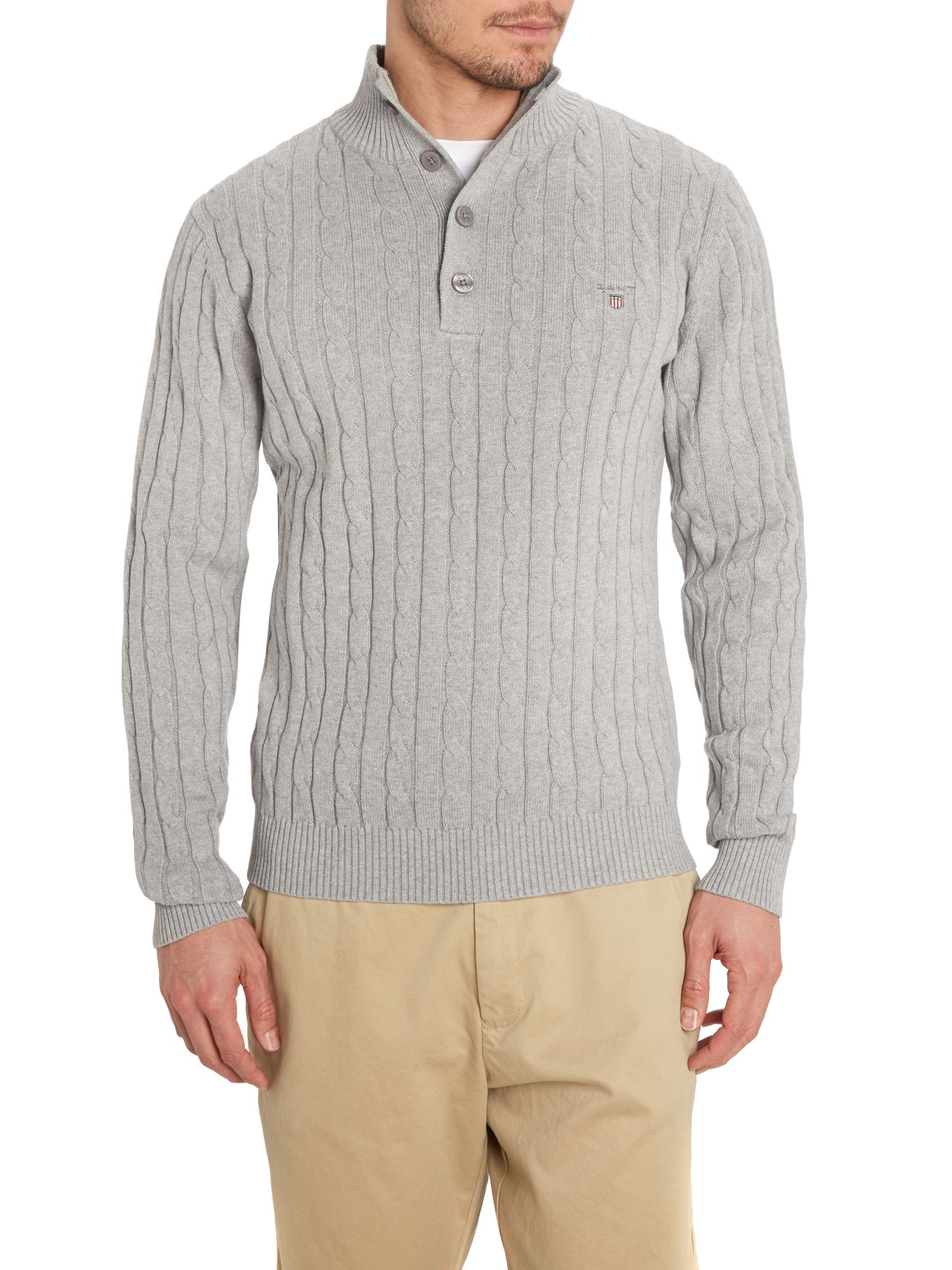 Cotton cable mockneck jumper
